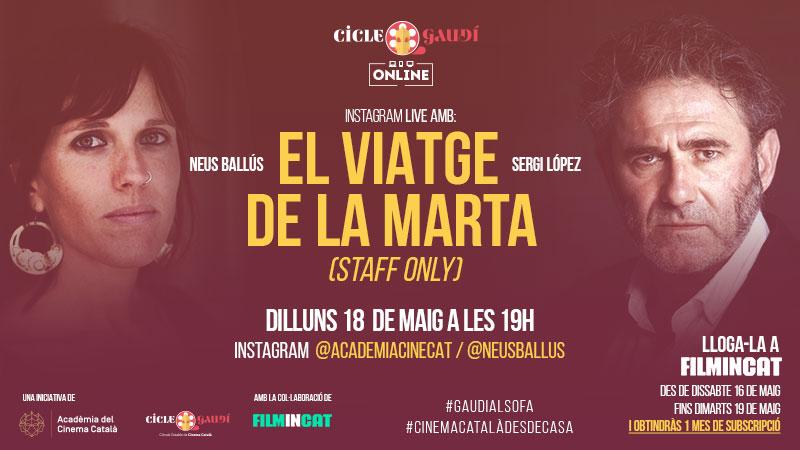 Del 16 al 19 de maig podreu veure la pel·lícula 'El viatge de la Marta (Staff only)' del Cicle Gaudí a www.filmin.cat