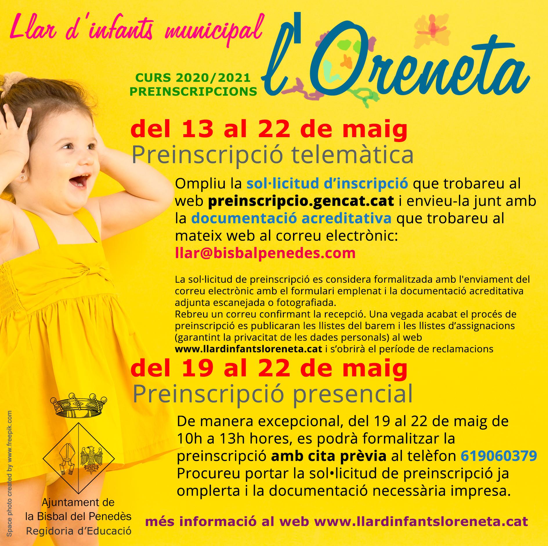 El dimecres 13 de maig comença el període de preinscripcions de la Llar d'infants l'Oreneta