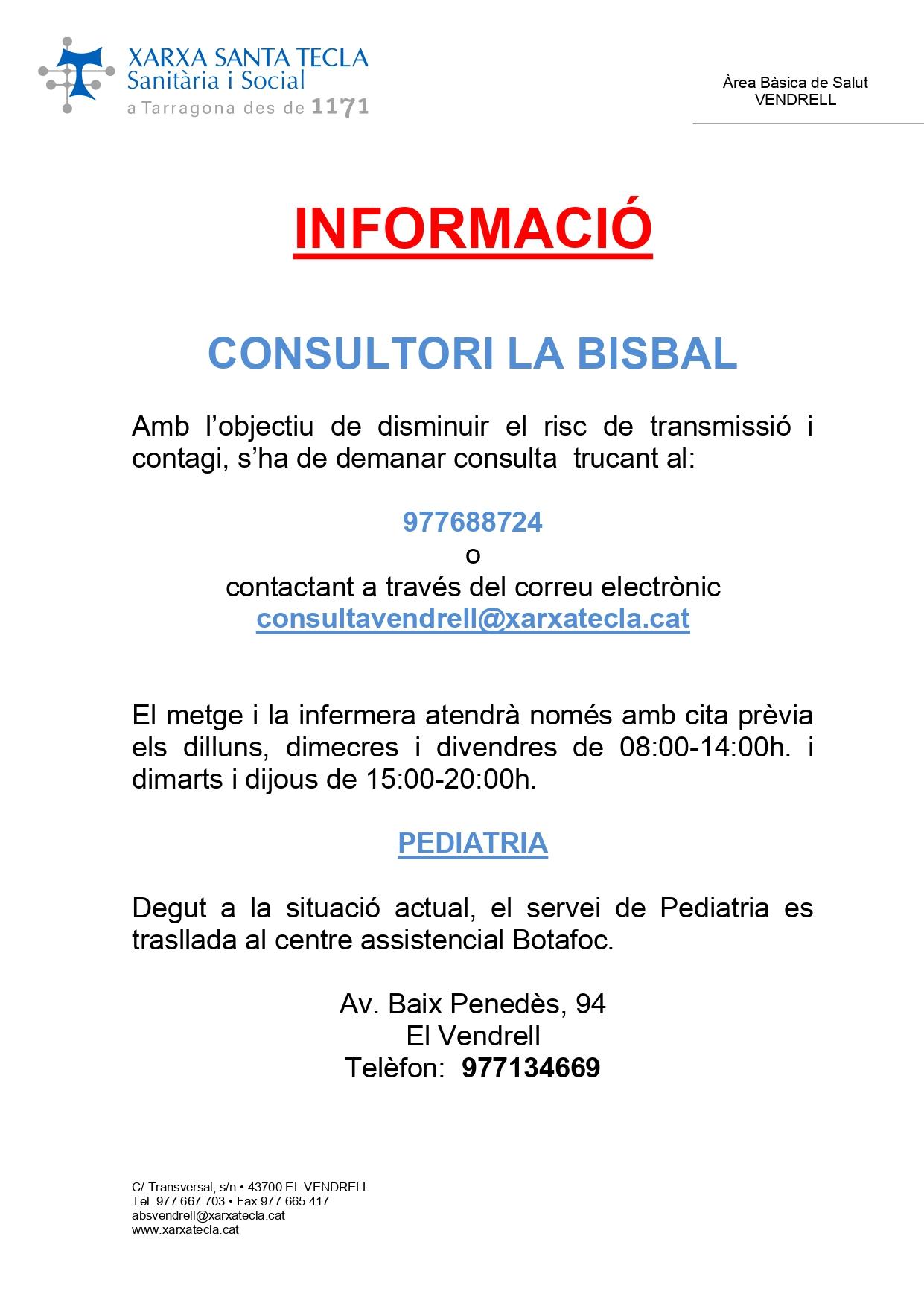 El consultori mèdic de la Bisbal reobrirà el 15 de juny i oferirà atenció només amb cita prèvia