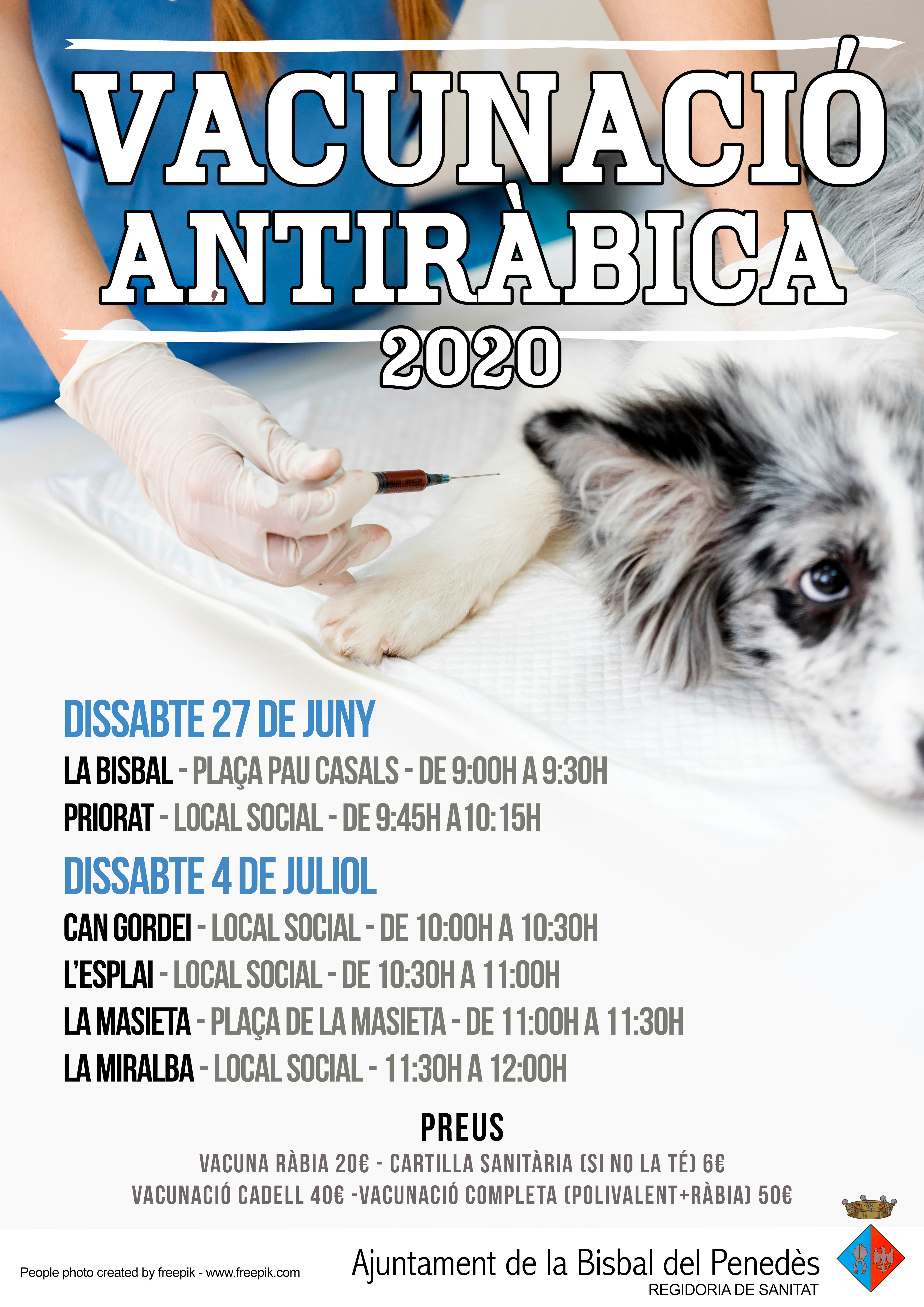 Els dissabtes 27 de juny i 4 de juliol podreu vacunar els vostres gossos contra la ràbia a la Bisbal