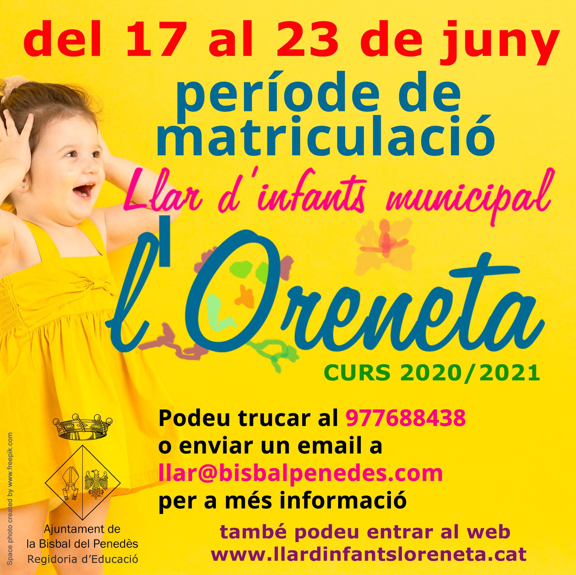 El dimecres 17 de juny s'obre el període de matriculacions per a la Llar d'infants municipal l'Oreneta
