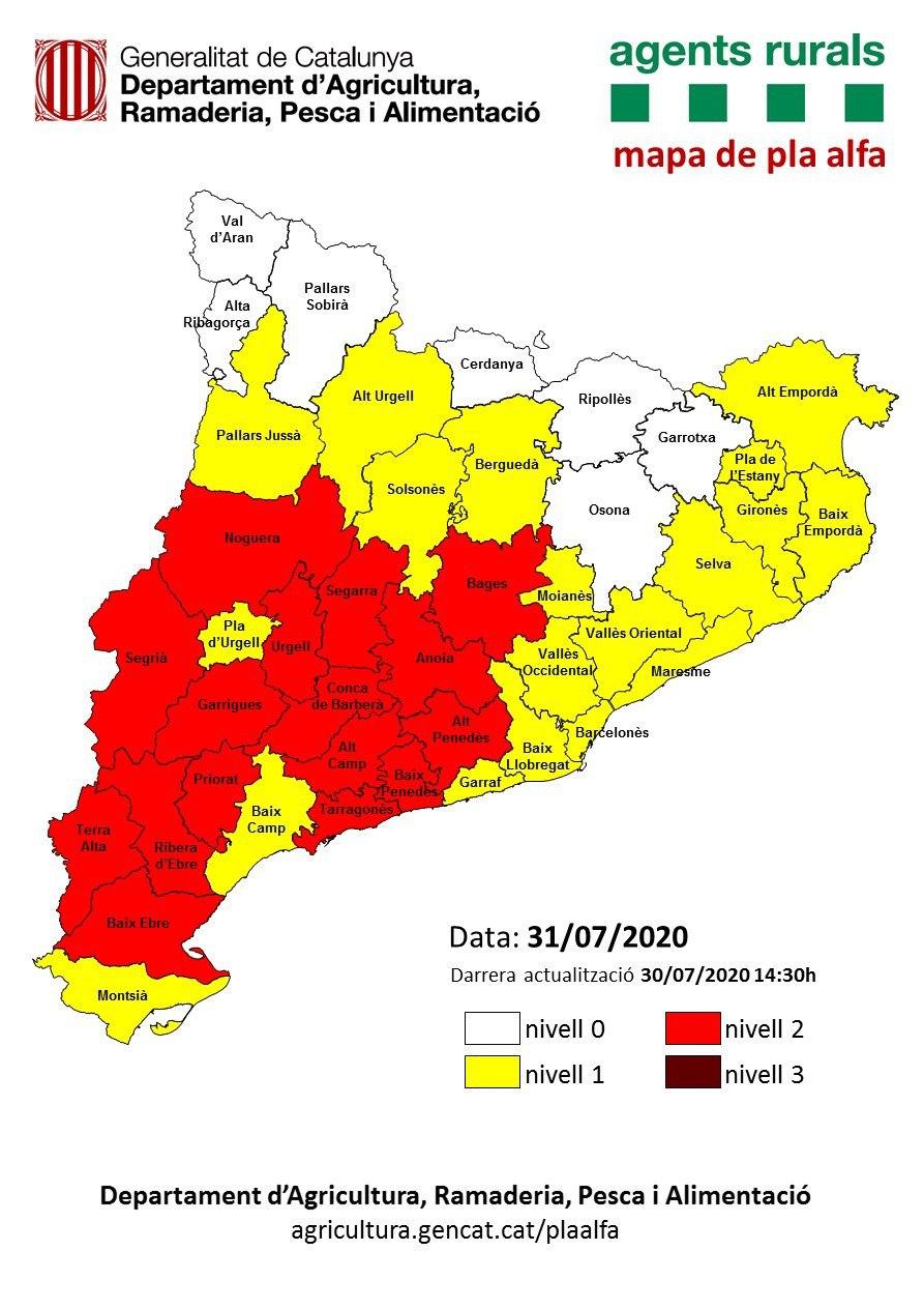 Activat el Pla Alfa per risc d'incendi forestal – Informació Actualitzada 31/07/20