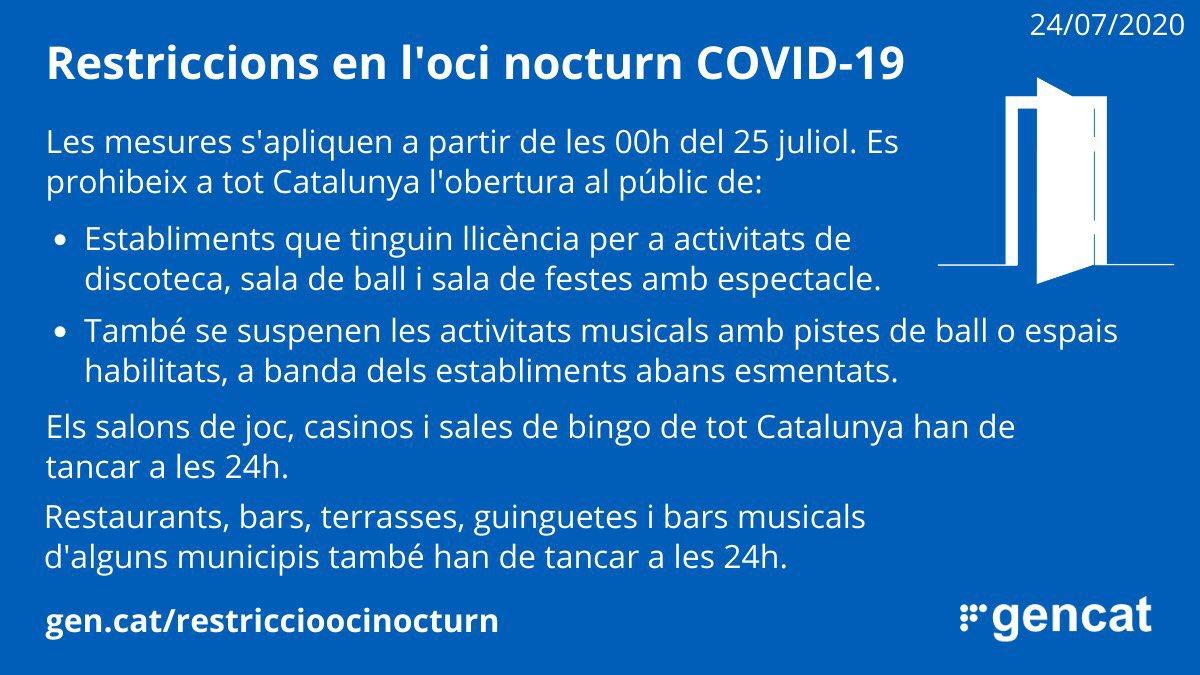 Se suspèn l'obertura de locals i sales relacionades amb l'oci nocturn a tot Catalunya