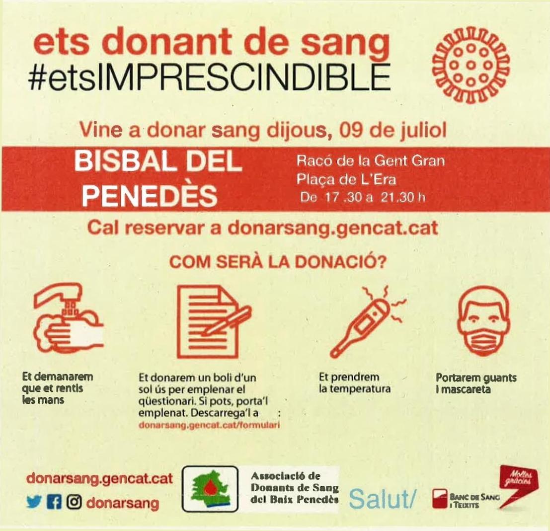 El dijous 9 de juliol podreu donar sang a la Bisbal del Penedès