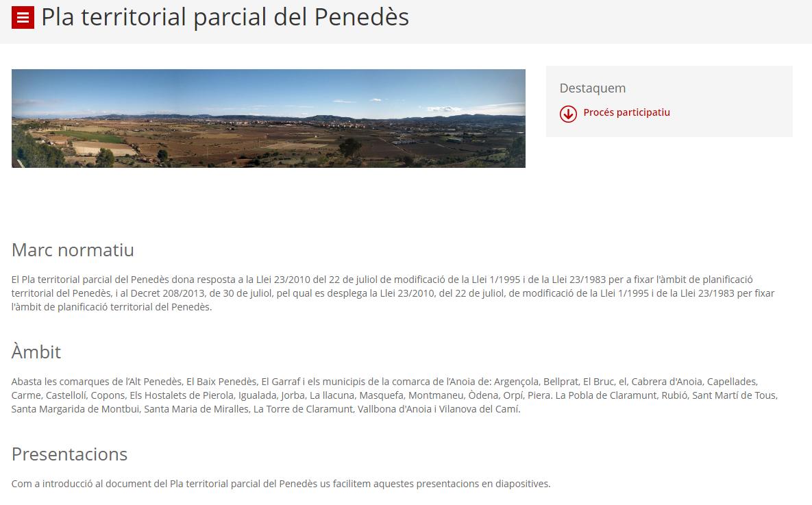 S'ha presentat l'avanç de les propostes del Pla Territorial Parcial del Penedès