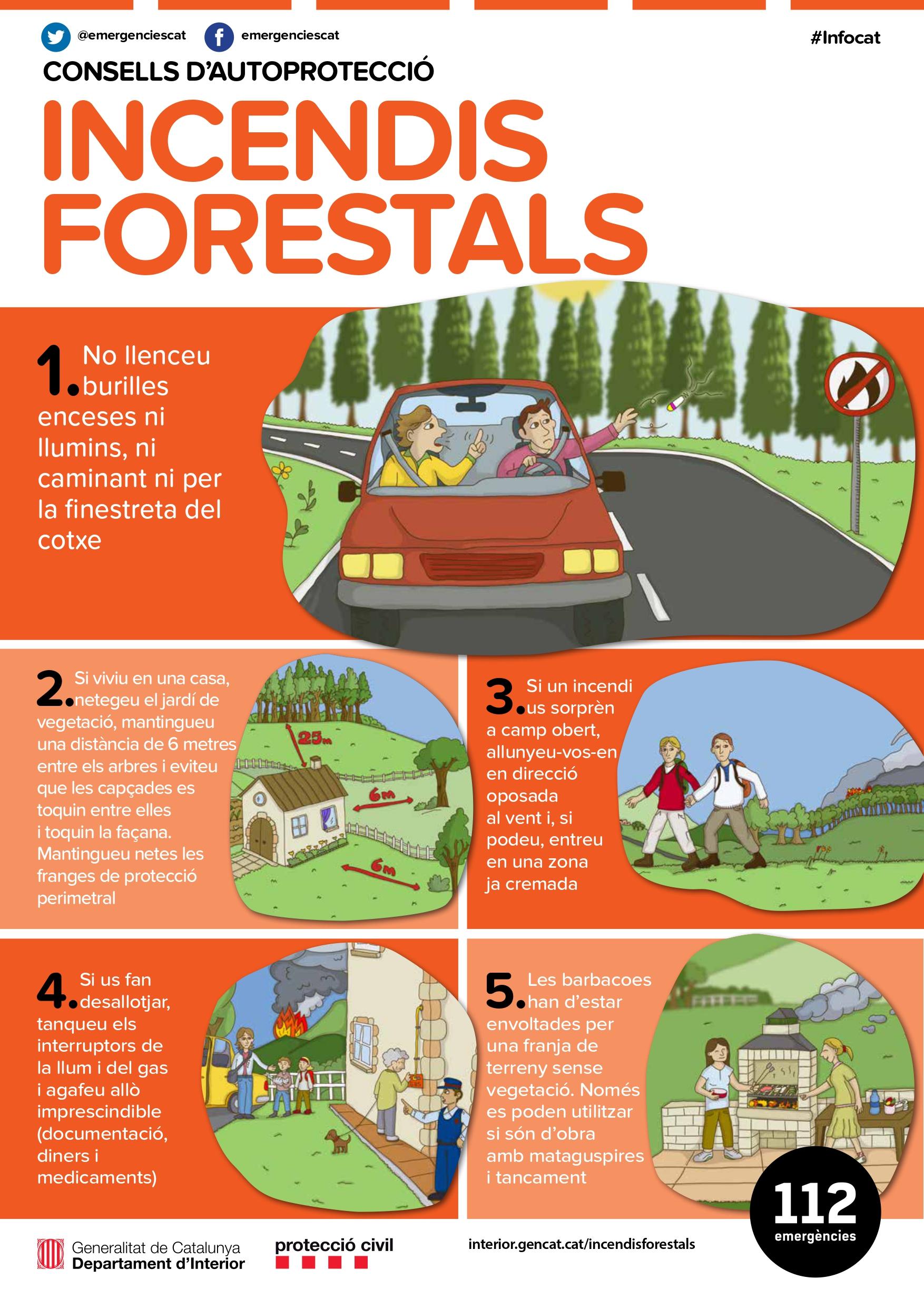 Informació sobre la prevenció d'incendis i la prohibició de fer foc en terrenys forestals