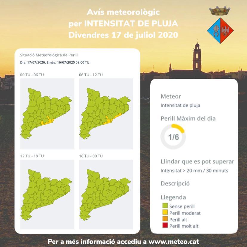 El Meteocat ha emès un avís per intensitat de pluja que afectarà el Baix Penedès la matinada del dijous 16 al divendres 17 de juliol