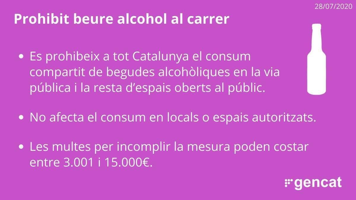 Nova mesura de la Generalitat: es prohibeix el consum compartit d'alcohol al carrer