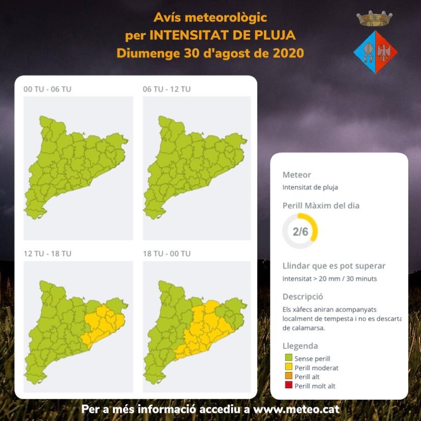 Actualització: avís per intensitat de pluja per a avui diumenge