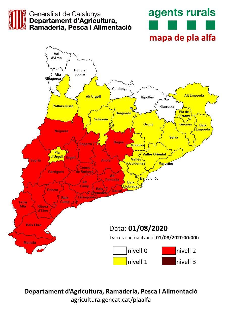 Activat el Pla Alfa per risc d'incendi forestal – Actualització 01/08/20