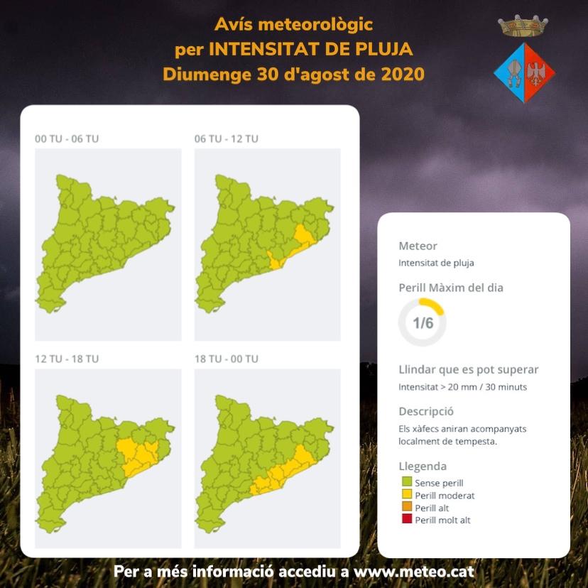 Avís per intensitat de pluja per al diumenge 30 d'agost a la tarda i nit