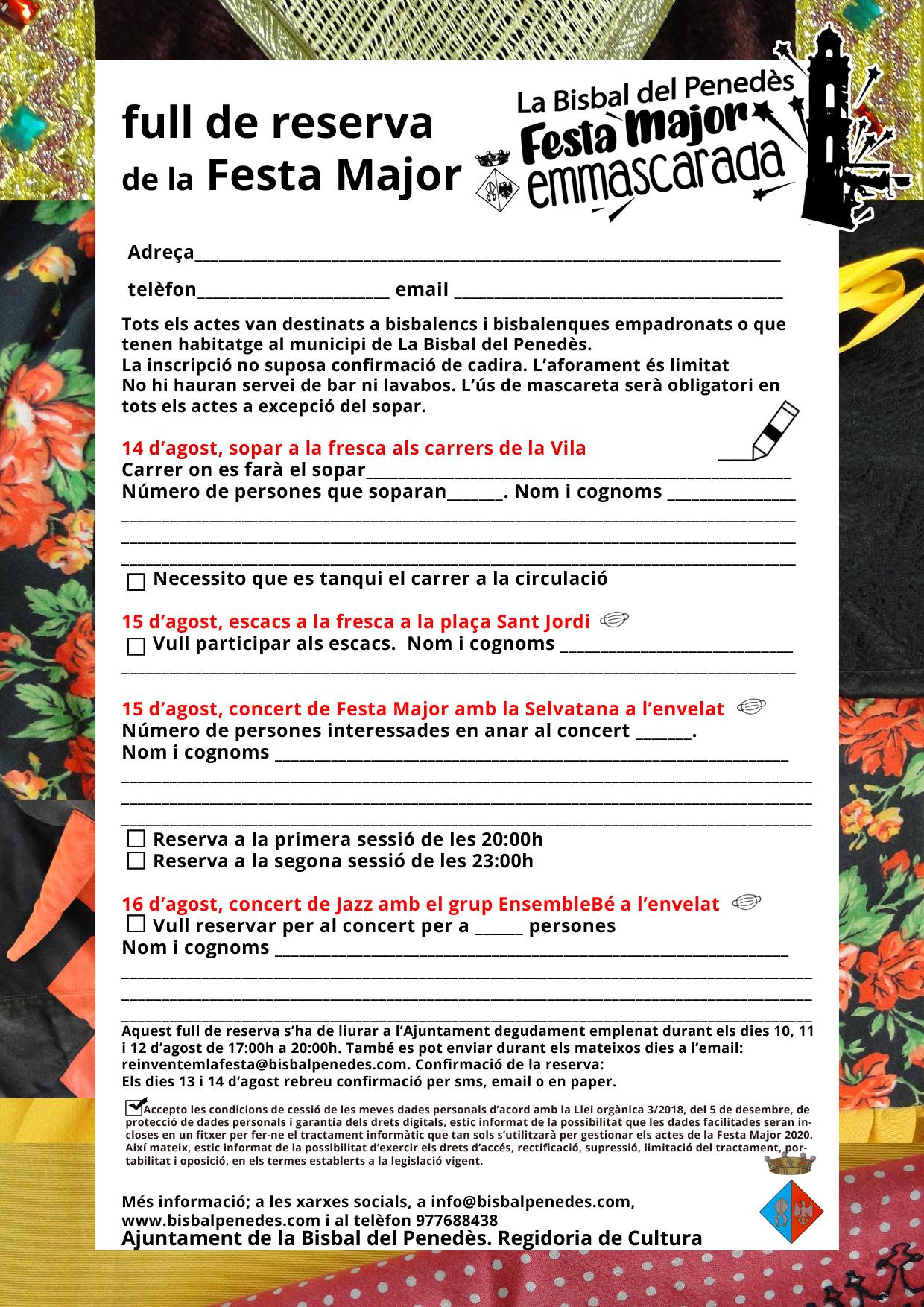 Del 10 al 12 d'agost -de 17h a 20h- es podran fer les inscripcions als actes de la Festa Major