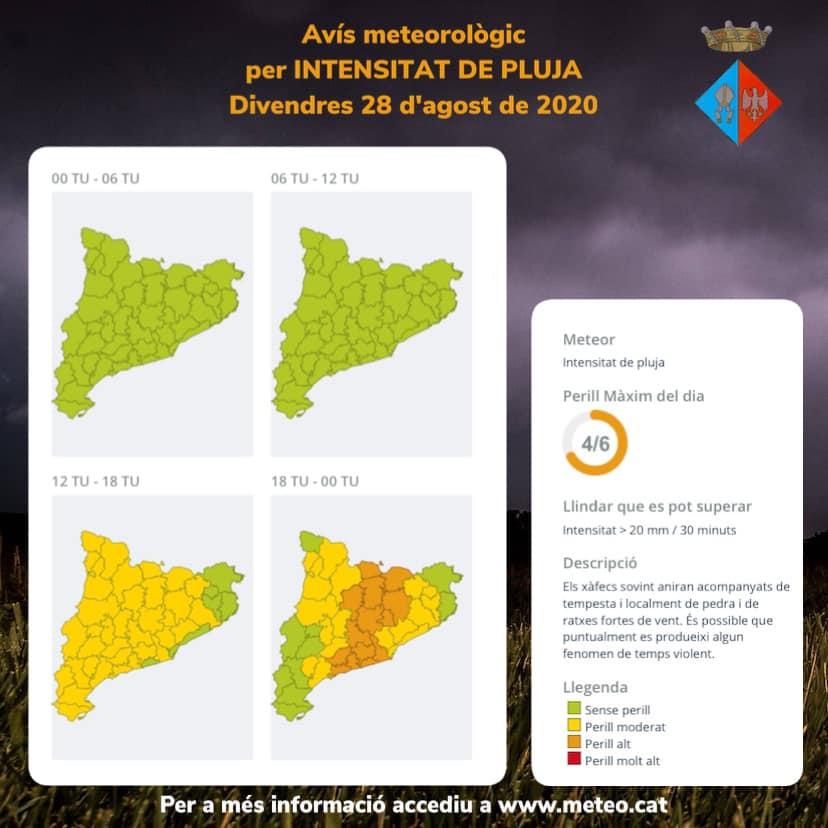 Activat el pla Inuncat: avui divendres i demà dissabte podria ploure amb molta intensitat