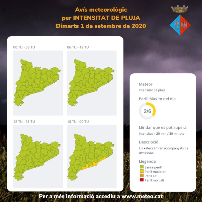 Avís per intensitat de pluja per al dimarts 1 i el dimecres 2 de setembre