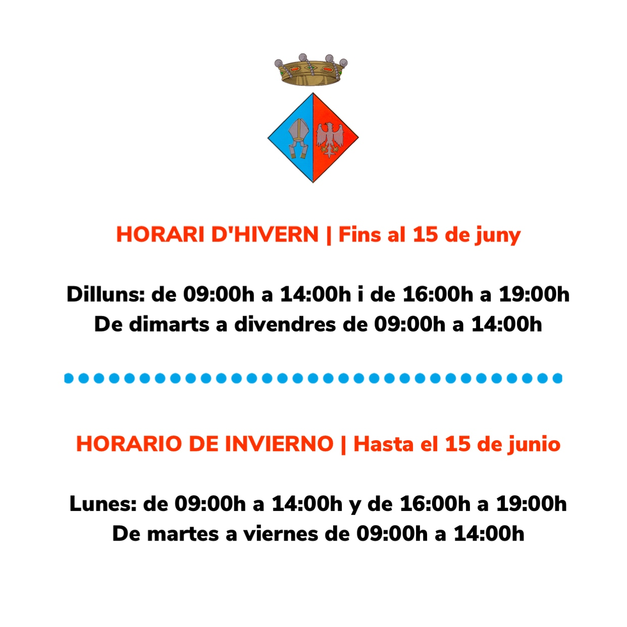 Horari d'atenció a la ciutadania de l'Ajuntament de la Bisbal del Penedès