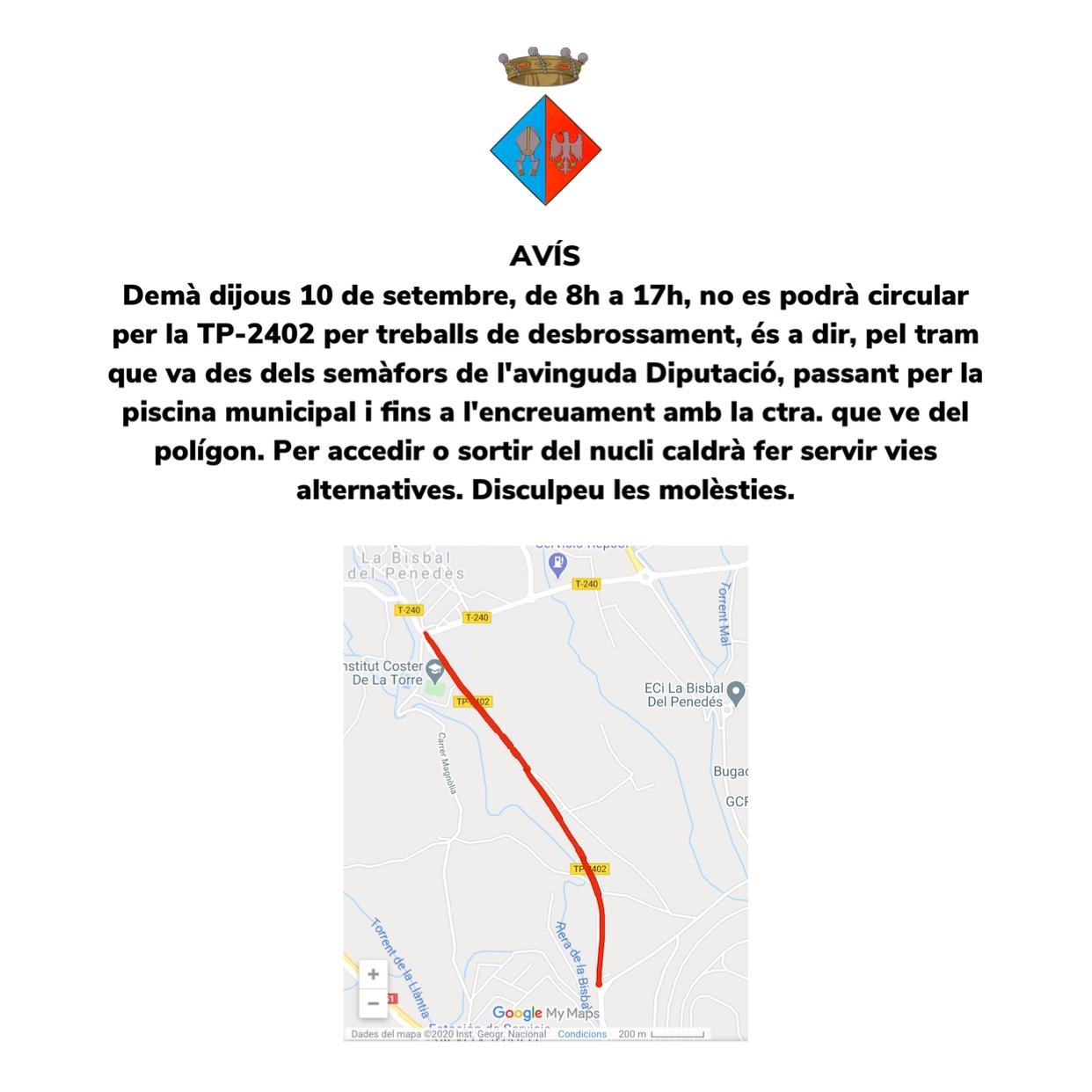 Aquest dijous de 8 a 17h no es podrà circular per un tram de la TP-2402