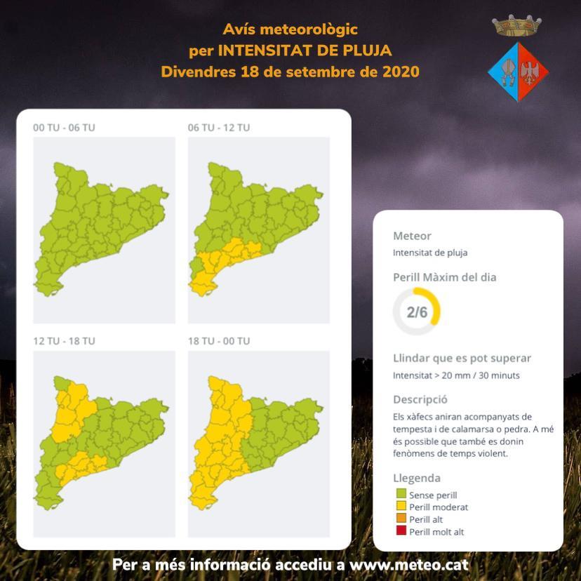 Avís per intensitat de pluja per al divendres 18 i el dissabte 19 de setembre de 2020