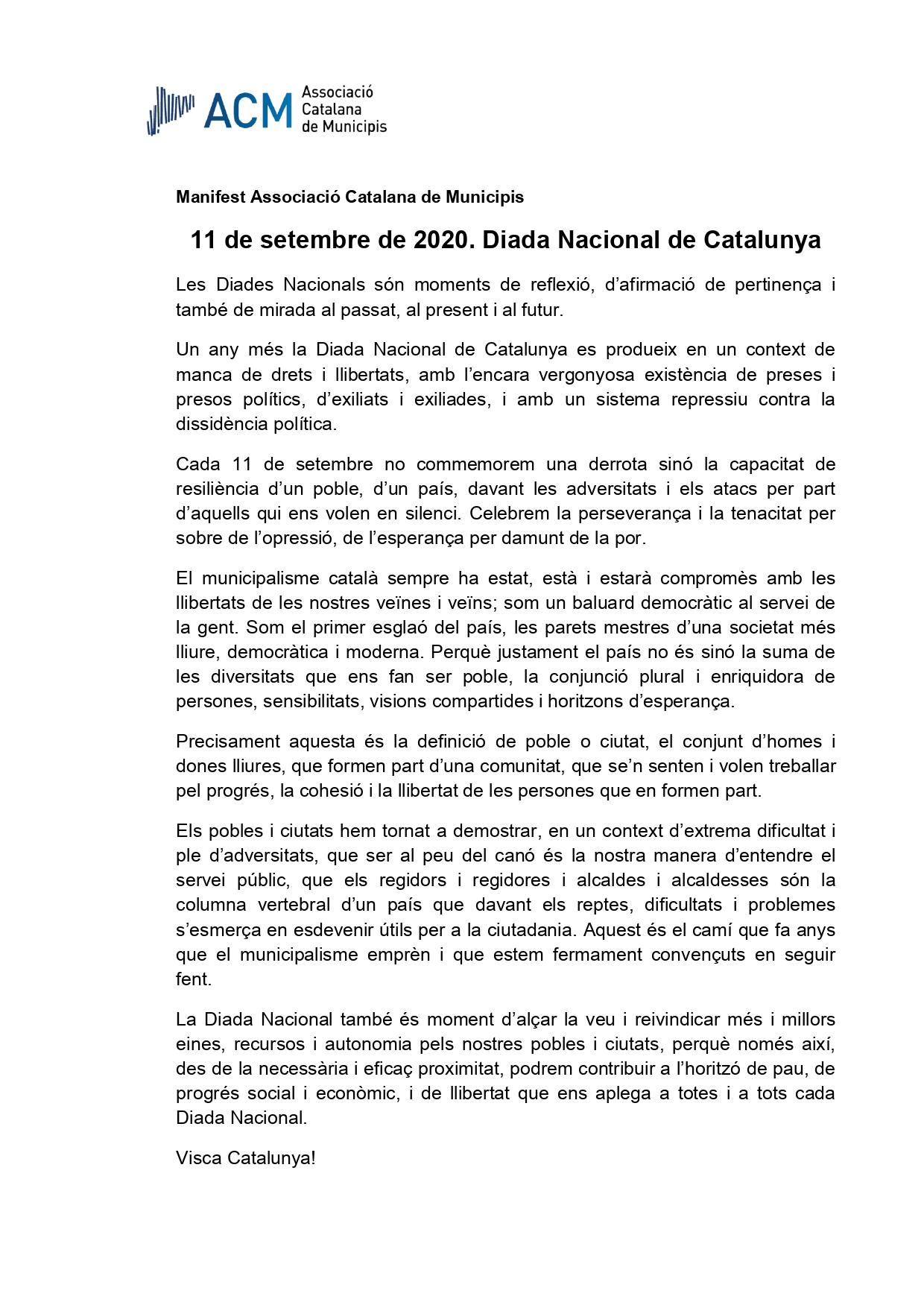 Manifest de l'11 de setembre – Diada Nacional de Catalunya – de l'Associació Catalana de Municipis