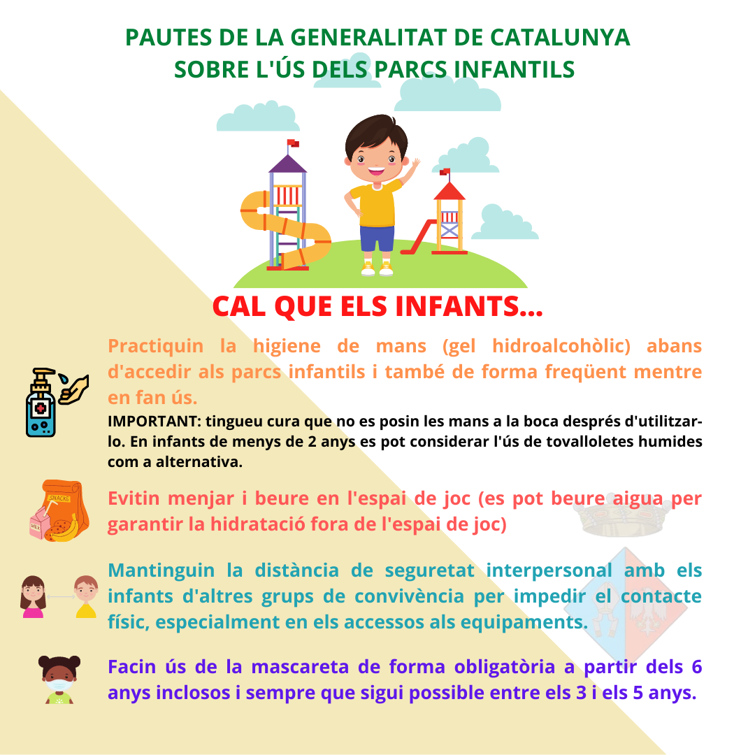 Pautes de la Generalitat de Catalunya sobre l'ús de parcs infantils.