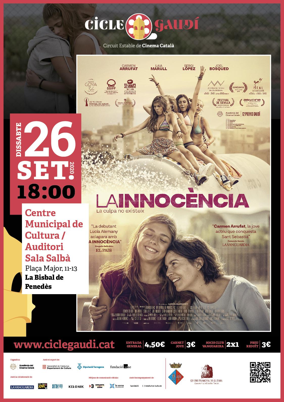 El dissabte 26 de setembre podreu tornar a gaudir del cinema del Cicle Gaudí a la Bisbal