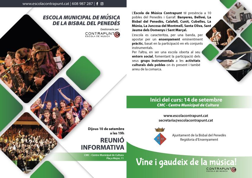El curs de l'Escola de Música començarà el 14 de setembre – El 10 de setembre es farà una reunió informativa