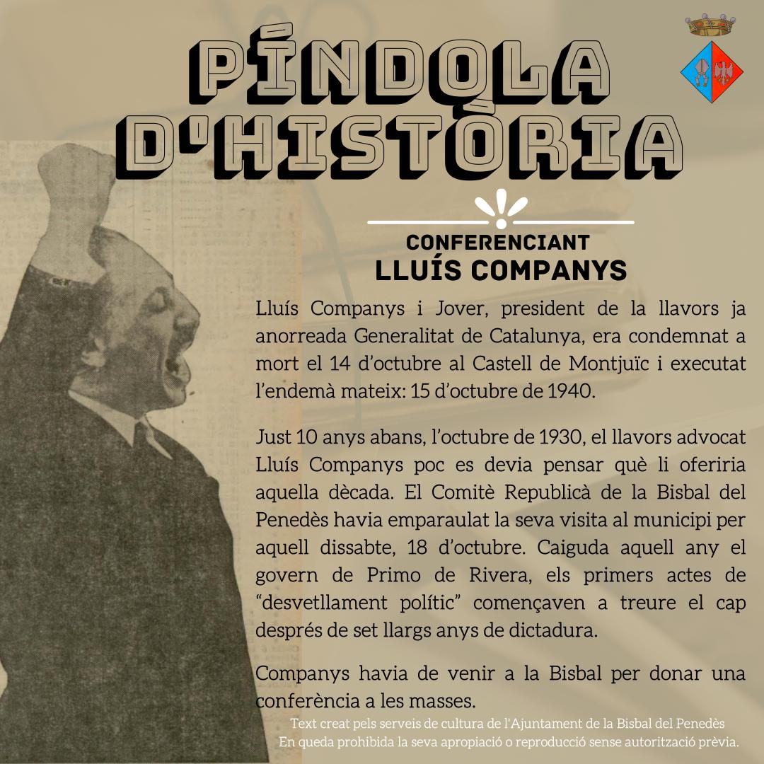 L'Ajuntament de la Bisbal del Penedès s'afegeix als actes de commemoració de l'afusellament del president Lluís Companys