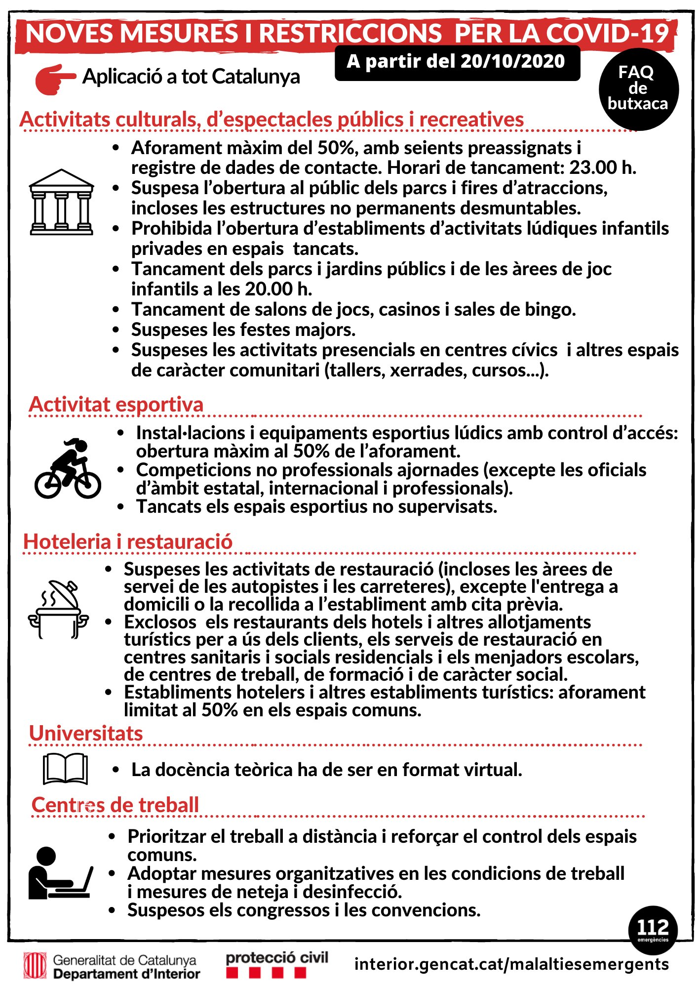 ACTUALITZACIÓ 20/10/20: Noves mesures i restriccions per la Covid-19