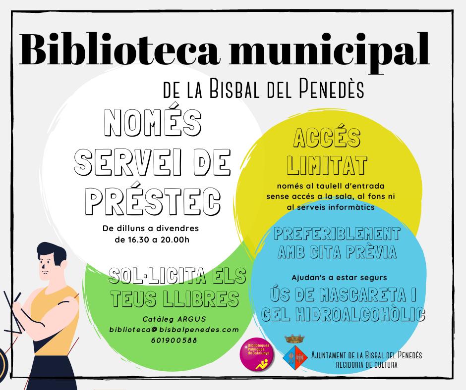 Modificació del servei de la Biblioteca amb motiu de les noves mesures de contenció de la pandèmia