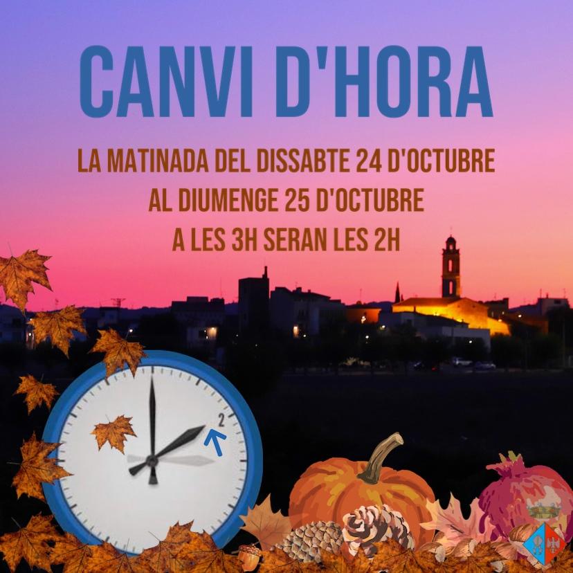 La nit del dissabte al diumenge haurem d'endarrerir el rellotge una hora
