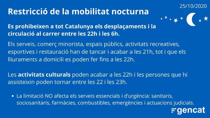 Publicada al DOGC la resolució que estableix les mesures i restriccions en la mobilitat nocturna