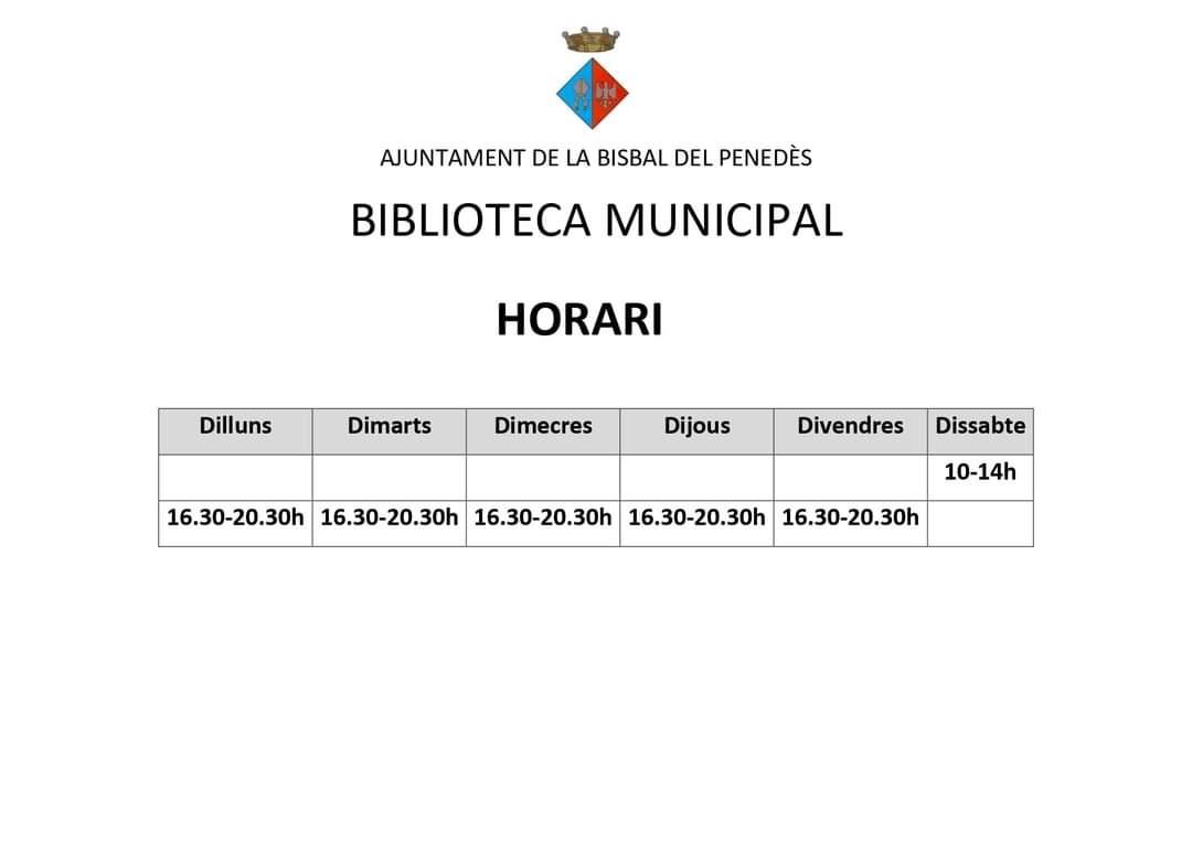 Nou horari de la Biblioteca pública
