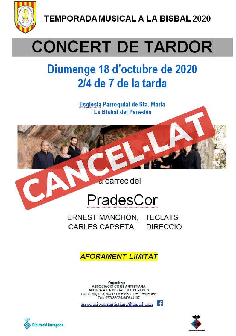 Es cancel·la el concert de Prades Cor previst per diumenge
