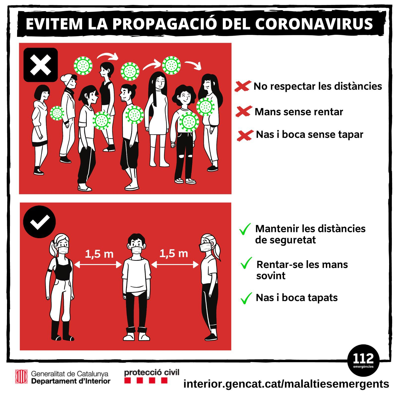 Evitem la propagació del coronavirus seguint les mesures de prevenció
