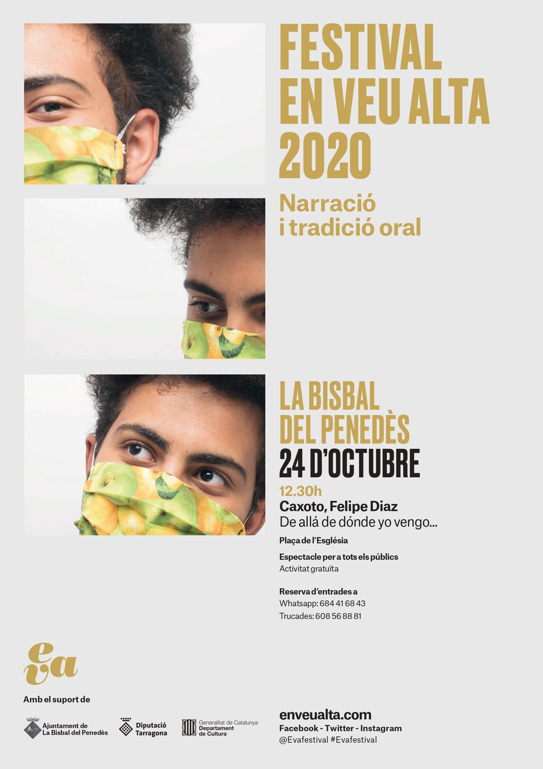 El dissabte 24 d'octubre a les 12:30h tindrà lloc un contacontes per a adults a la Plaça de l'Església en el marc del Festival EVA