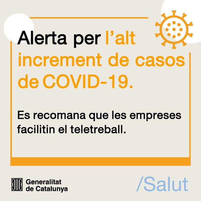 El Departament de Salut de la Generalitat recomana que les empreses facilitin el teletreball