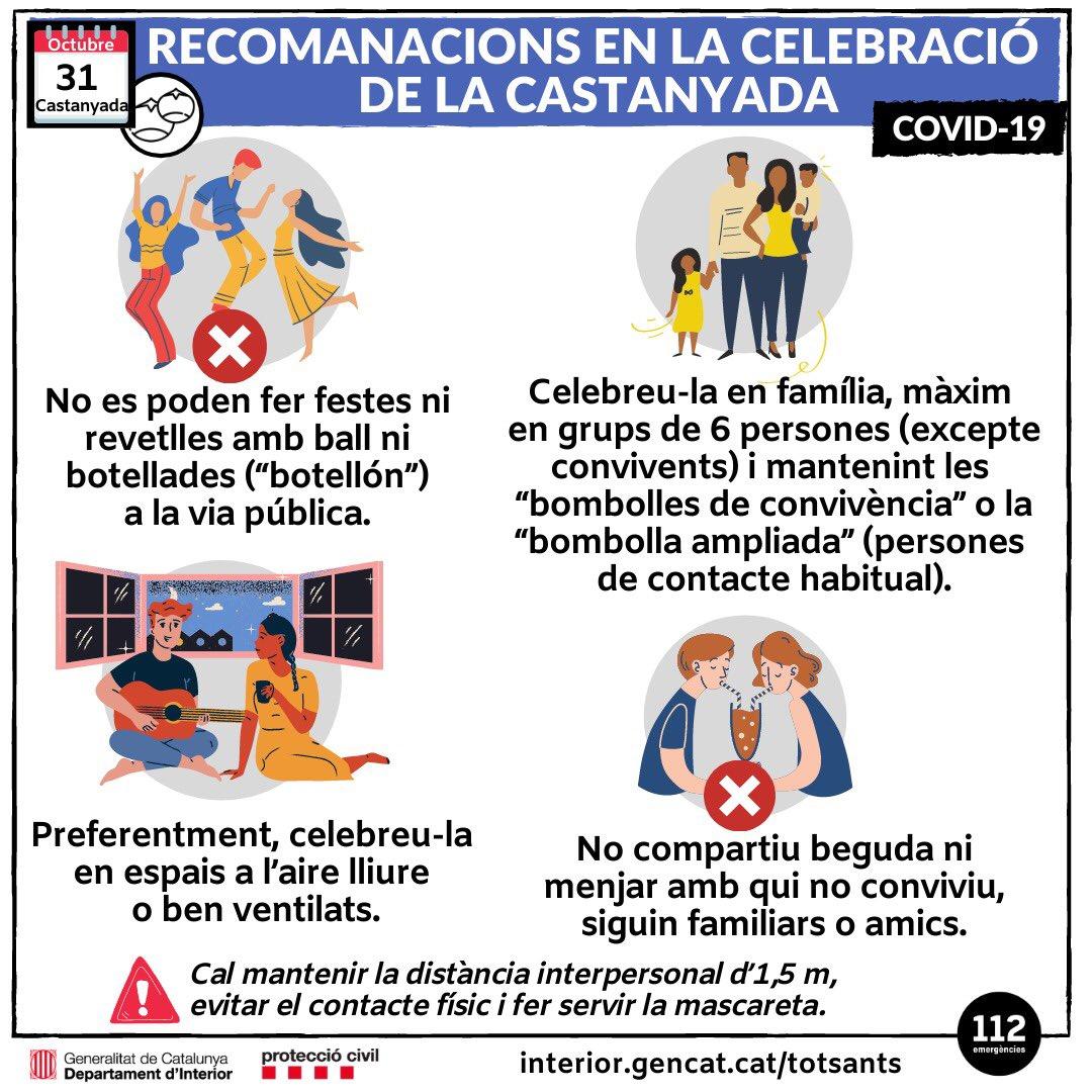 Recomanacions de la Generalitat de Catalunya per a la celebració d'una castanyada segura