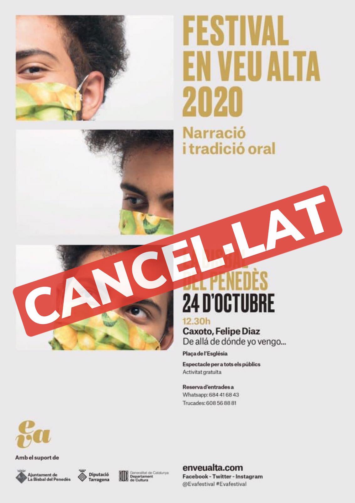Per motius aliens a l'organització se suspèn el contacontes per a adults previst per al dissabte 24 d'octubre en el marc del Festival EVA