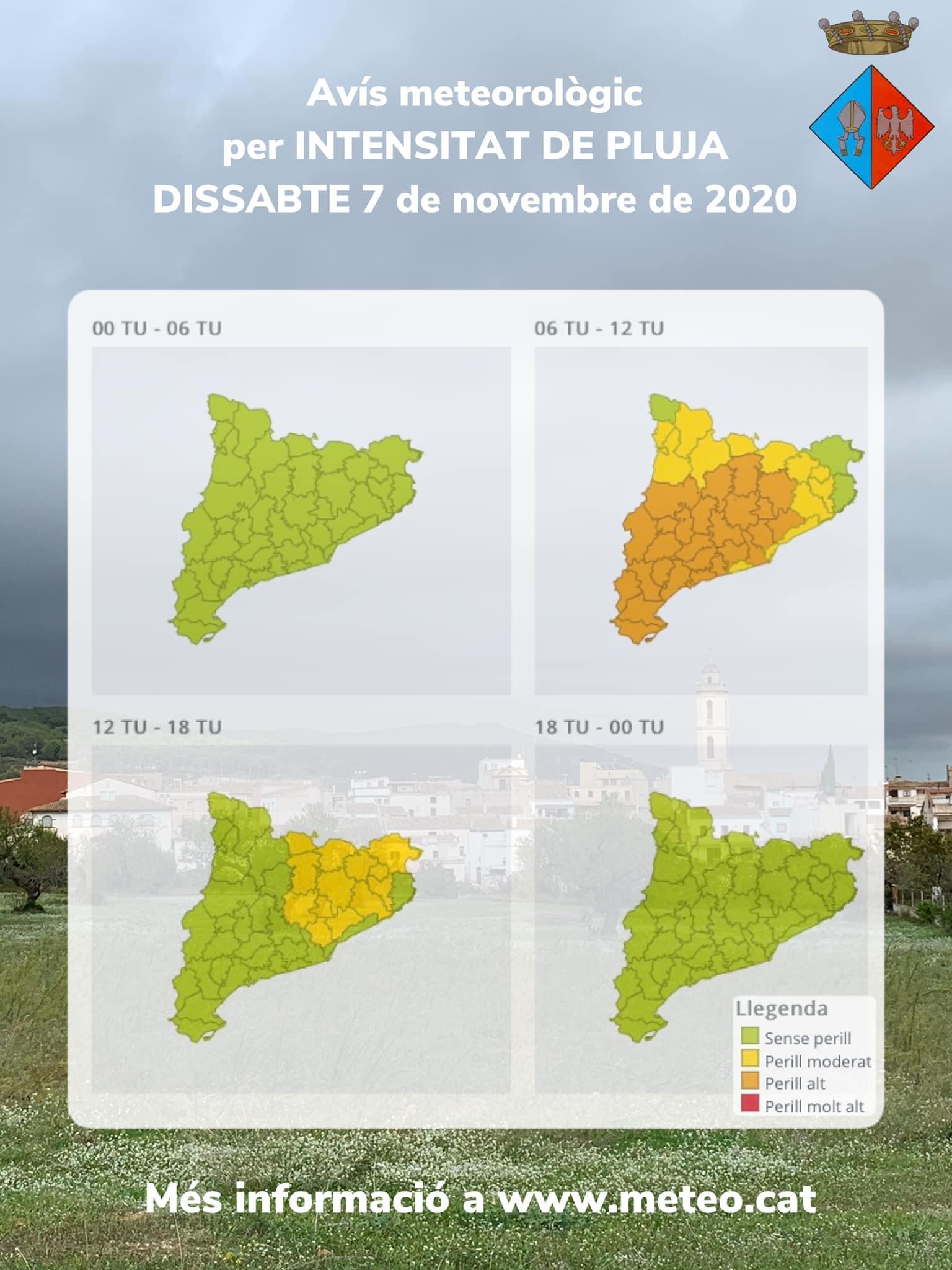 Avís per intensitat de pluja, tempestes i possibles fenòmens de temps violent per al dissabte 7 de novembre de 2020
