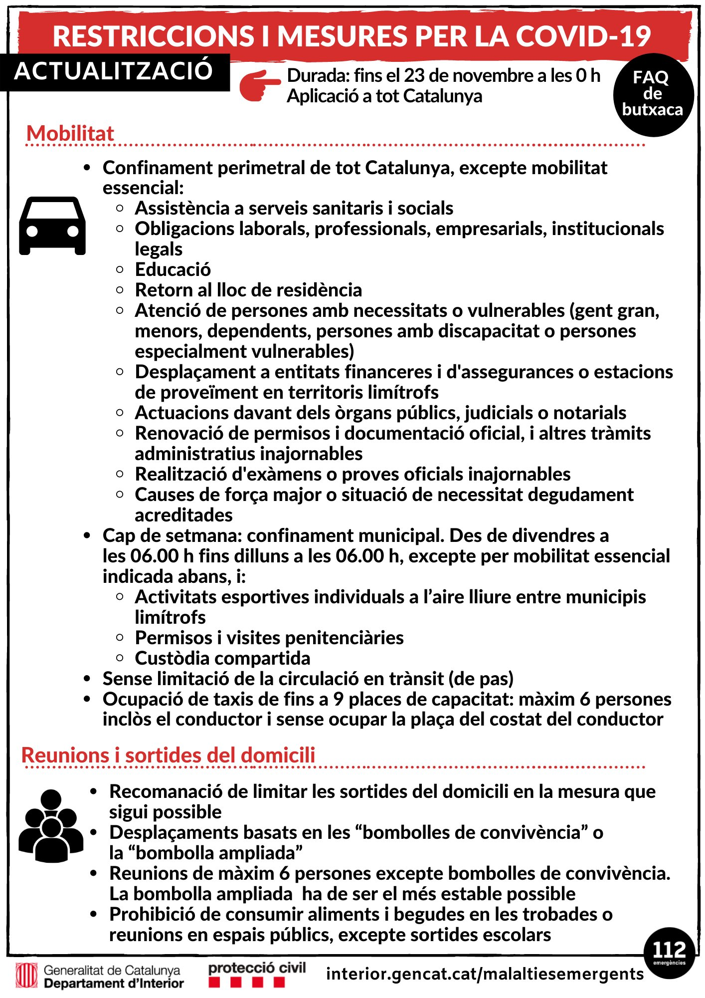 ACTUALITZACIÓ 14-11-20 | Mesures vigents per contenir els brots de COVID-19