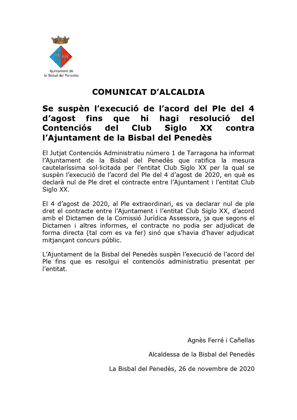 COMUNICAT D'ALCALDIA – Se suspèn l'execució de l'acord del Ple del 4 d'agost fins que hi hagi resolució del Contenciós del Club Siglo XX contra l'Ajuntament de la Bisbal