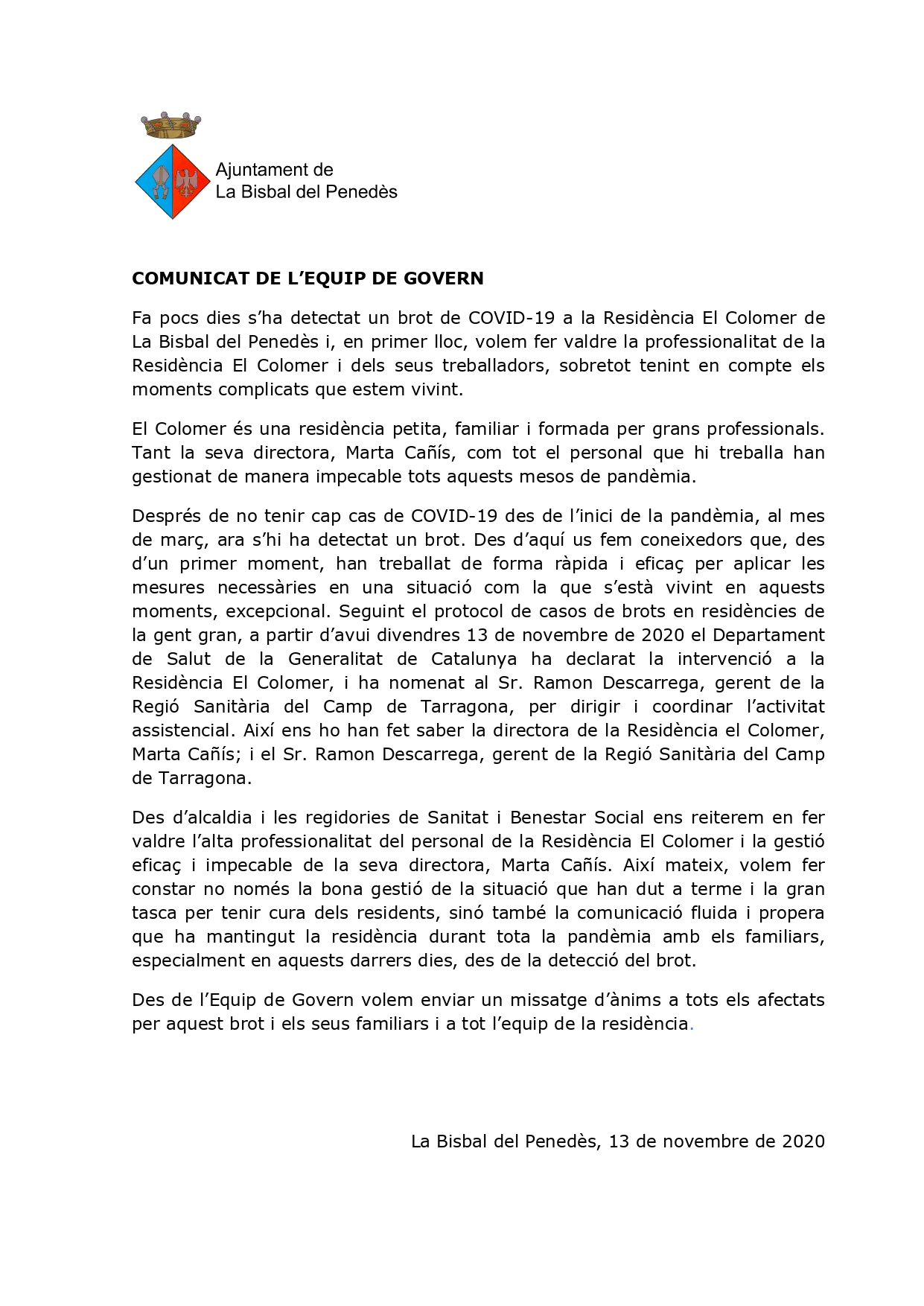 Comunicat de l'Equip de Govern sobre el brot de COVID-19 detectat a la Residència El Colomer