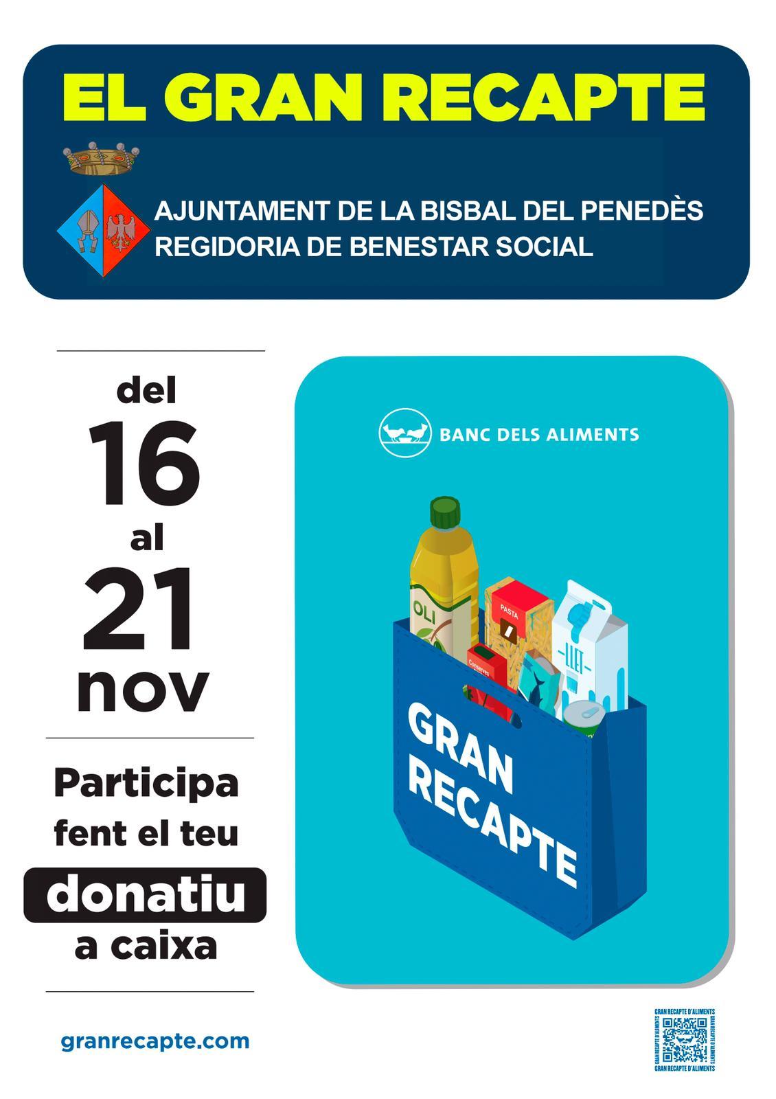 Del 16 al 21 de novembre tindrà lloc el Gran Recapte dels Aliments: enguany serà diferent