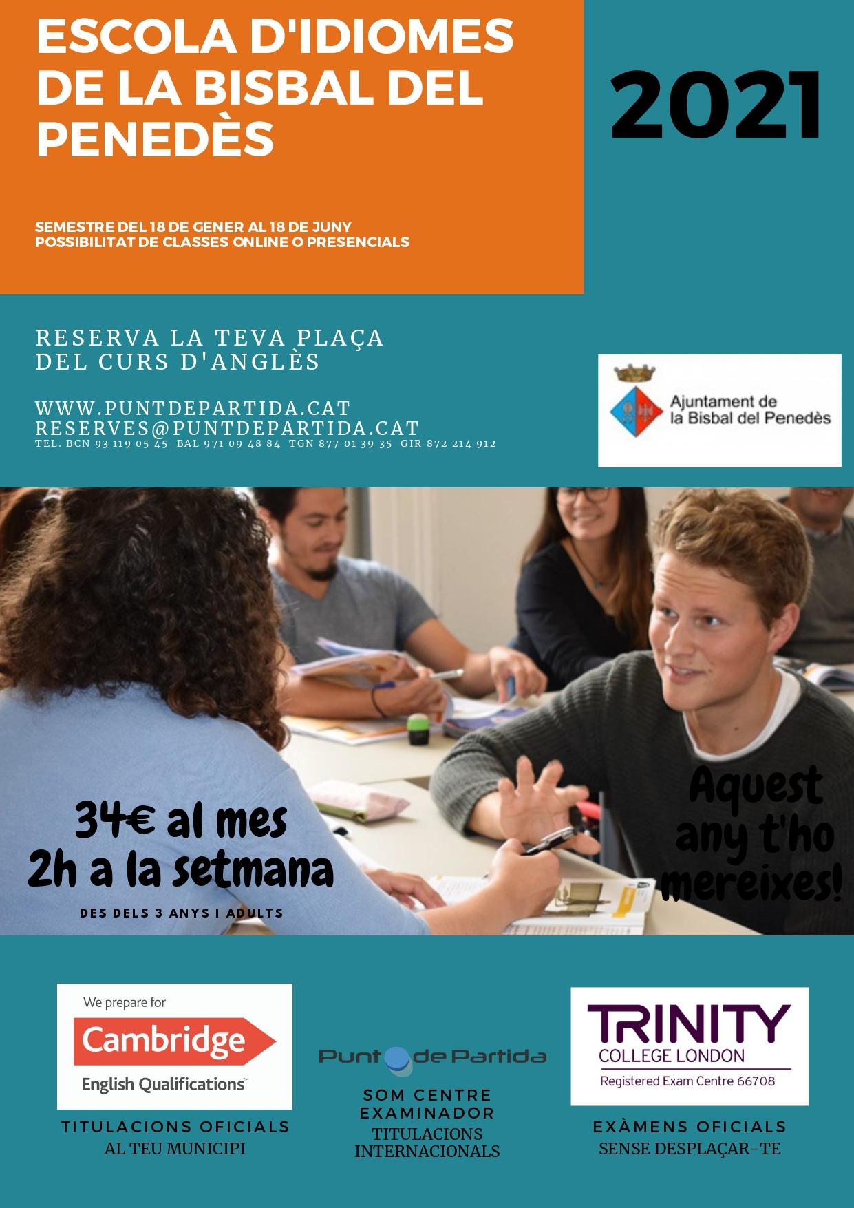 Aquest 2021 podeu aprendre anglès a l'Escola d'Idiomes de La Bisbal del Penedès