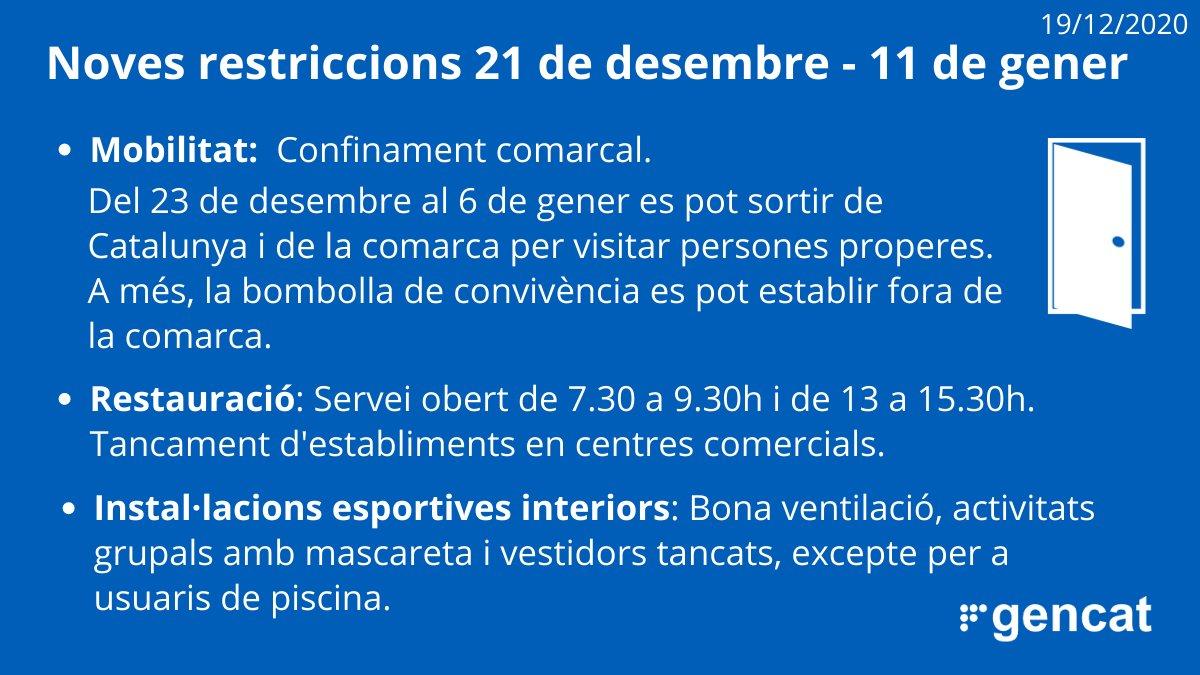 Noves mesures per la Covid-19 a partir del dilluns 21 de desembre