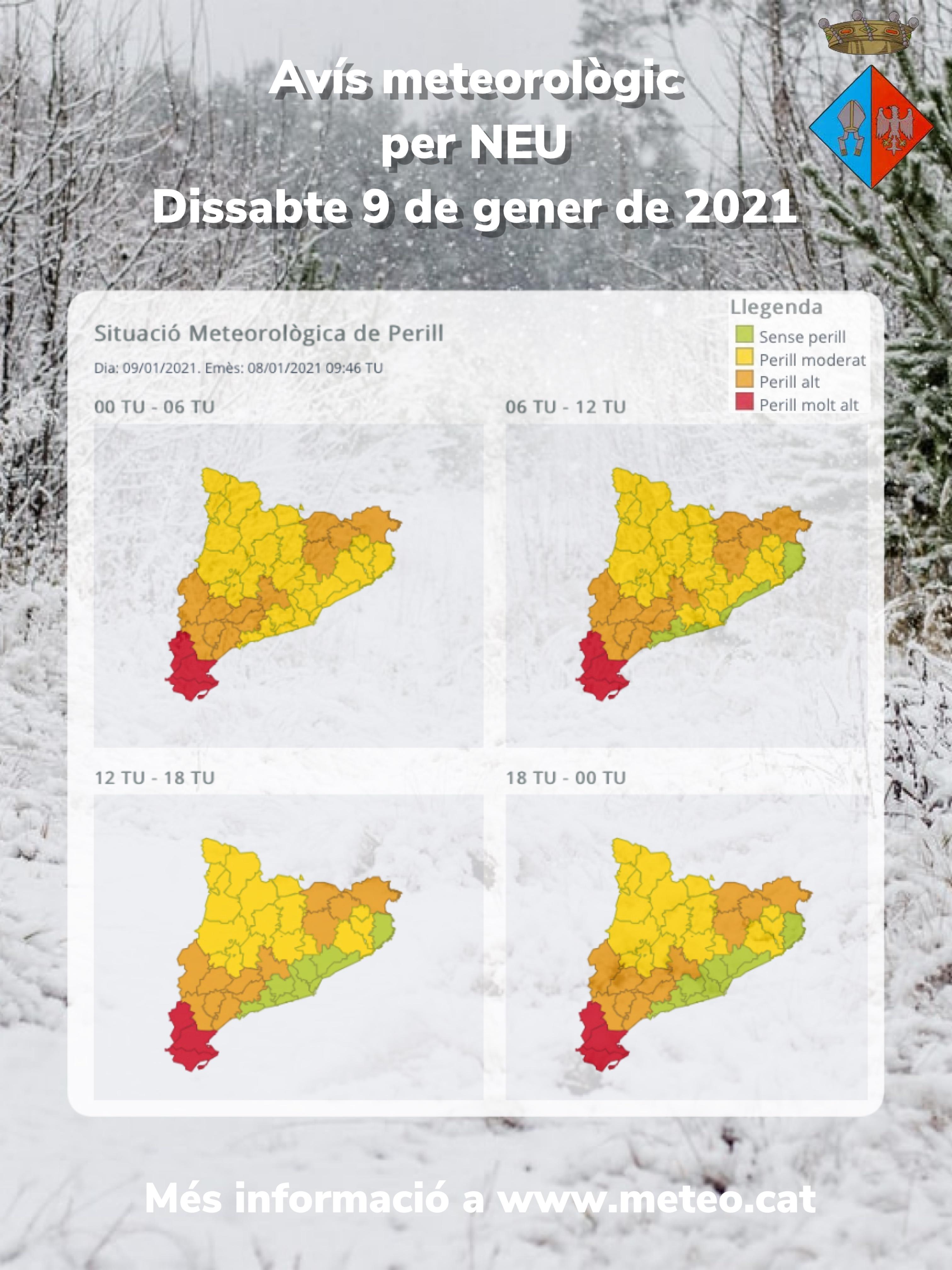 Situació meteorològica de perill: previsió de nevades per al dissabte 9 de gener