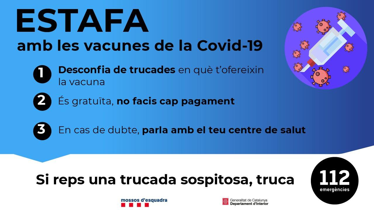 Eviteu que us estafin amb la vacuna de la COVID-19