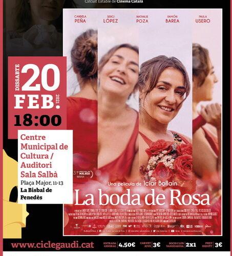 El dissabte 20 de febrer a les 18h projectarem 'La boda de Rosa'. La pel·lícula té 5 nominacions als Premis Gaudí