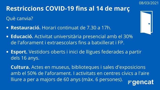 Noves mesures per la COVID-19 a partir del 8 de març de 2021