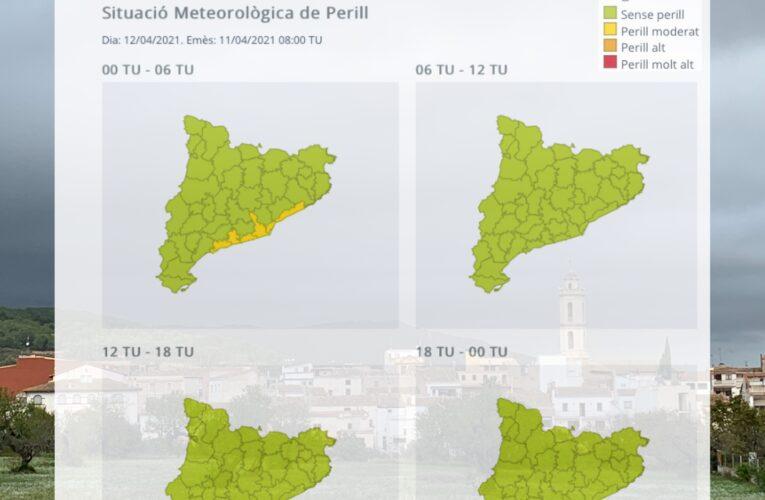 Avís per intensitat de pluuja per a la matinada del dilluns 12 d'abril de 2021