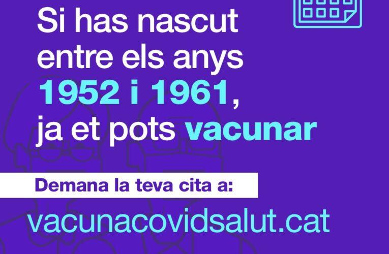 Si heu nascut entre els anys 1952 i 1961 ja podeu demanar cita per vacunar-vos contra la COVID-19